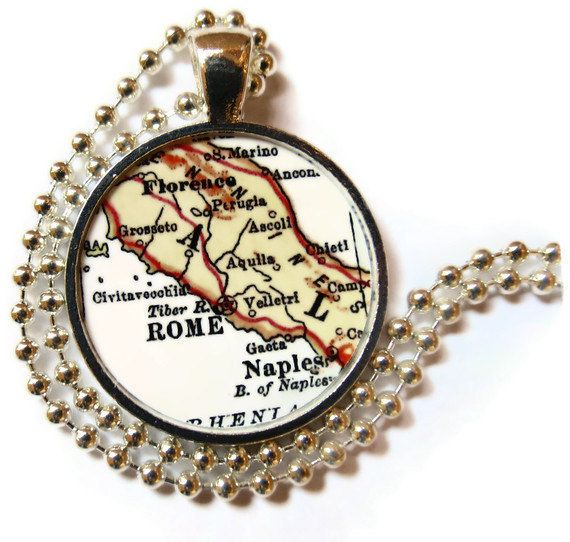 Rome Naples Florence Italy necklace map by LocationInspirations, $12.95