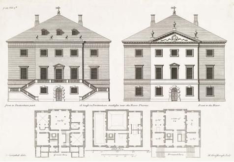 Inspiration for Abercrombie Residence - Designs for Marble Hill, Twickenham, London. Lord Herbert & Roger Morris, 1724-29 Royal Institute of British Architects Library Drawings Collection