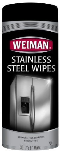 Weiman Stainless Steel Wipes by Weiman. $4.42. Lint free wipes will not scratch stainless steel. Leveling agent fills in the stainless steel grooves for a streak free shine. Blend of oils and silicones for shine and protection against fingerprints. Weiman Stainless Steel Wipes are a convenient way to quickly and easily clean, shine and protect your stainless steel appliances. The wipes are specially formulated to remove fingerprints, water marks and grease while repell...