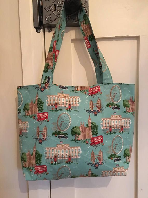 Cath Kidston London print fabric bag, birthday gift, Cath Kidston, tote bag, weekend bag, fabric tote, London landmarks, shabby chic,