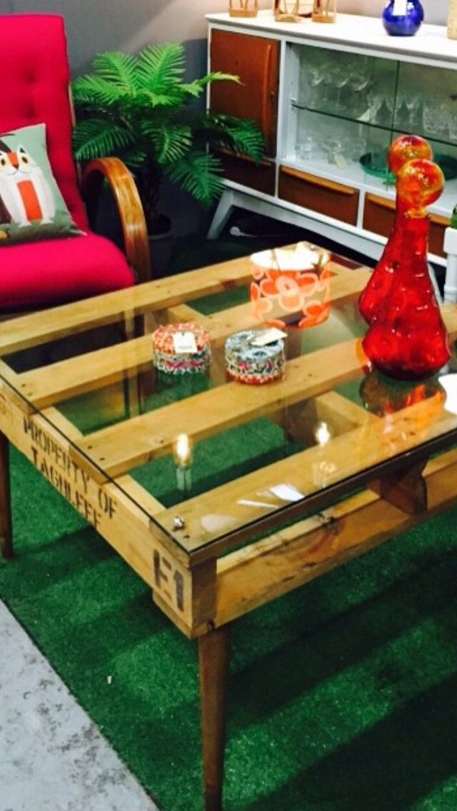 Coffee table. Industrial mid century. Glass top, pallet middle, mid century coffee table legs.