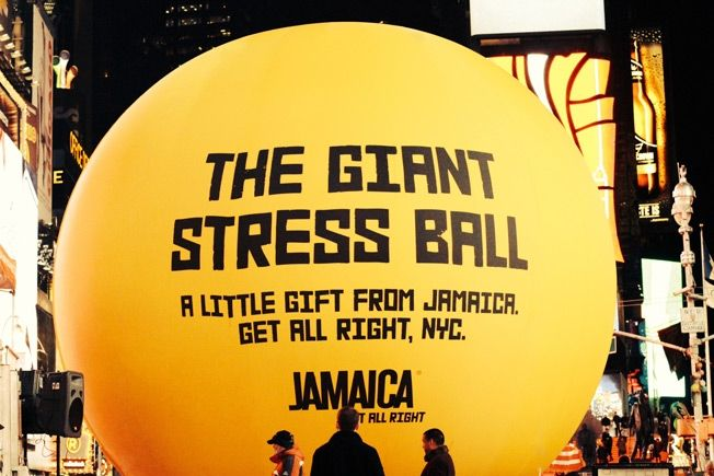 Jamaica Tourism Agency Places Giant Stress Ball in Times Square New York - http://www.creativeguerrillamarketing.com/guerrilla-marketing/jamaica-tourism-agency-places-giant-stress-ball-times-square-new-york/