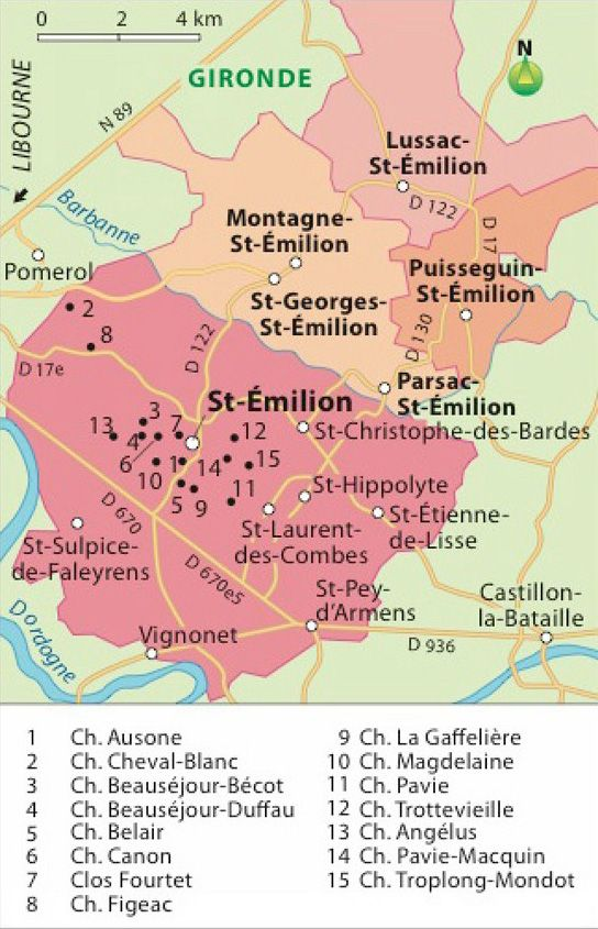 """[Carte] """"Carte de l'Appelation Bordeaux St Emilion Grand Cru et 15 Châteaux (France)"""" par Hachette-vins.com"""
