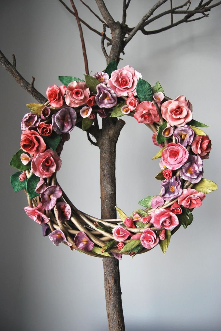 big wreath with ceraminc flowers by MarrusCreations on Etsy