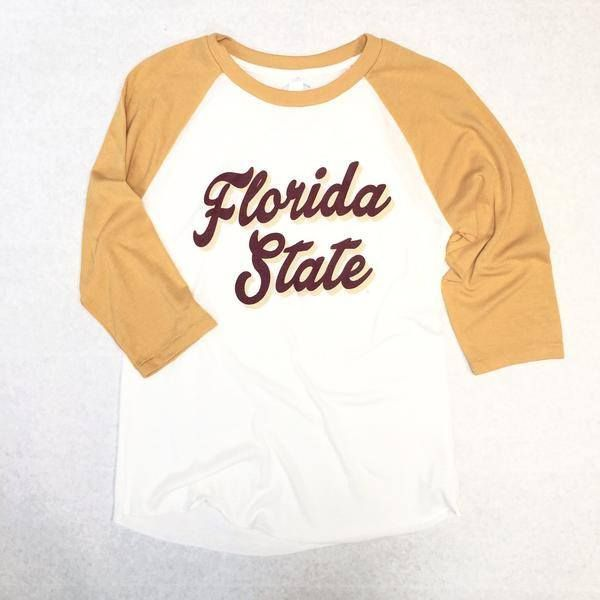 Florida State Retro Script Vintage Baseball Gameday Shirt – Dixieland Monogram