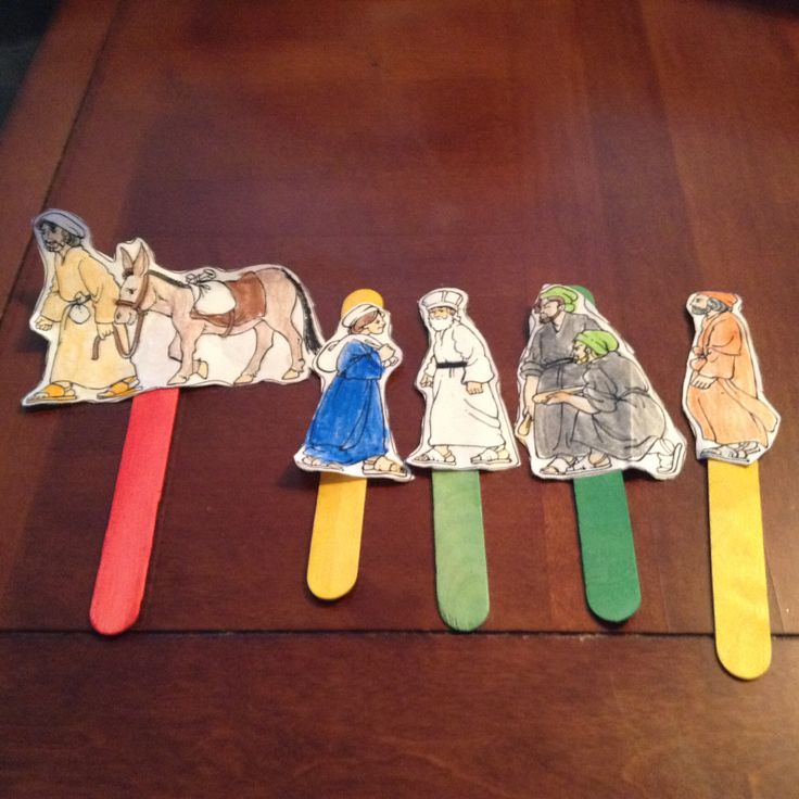 Stick puppets we made to tell the story of the Good Samaritan.