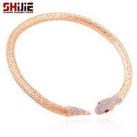 Shijie Gold Choker Snake Ketting Crystal Kettingen Voor Vrouwen Collares Zilveren Statement Ketting Sieraden Collier Bijoux Kraag