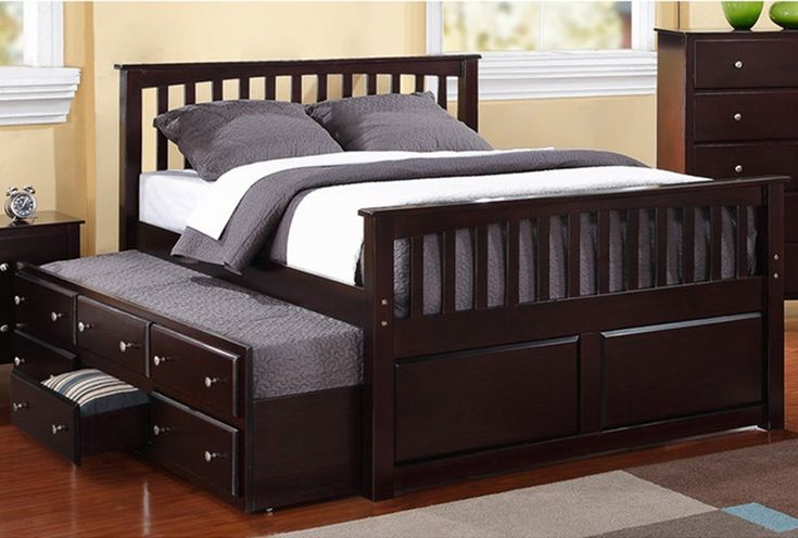 Wooden King Size Bed with Trundle