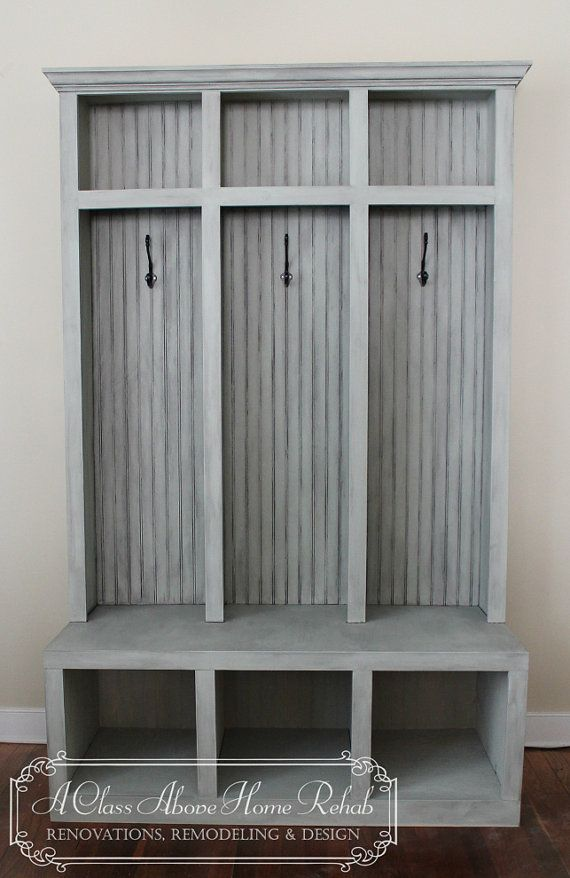 Entryway Mudroom Locker Bench 3 Lockers Shabby Chic A House And Entryway
