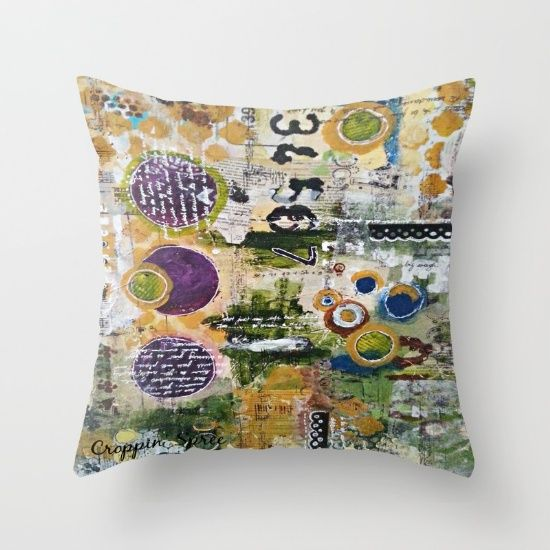 Buy Mixed Media Art. Numbers, Circles & Words. Purpose Art. Deep Plum, Yellow, Greens and Blues Throw Pillow by Croppin'Spree. Worldwide shipping available at Society6.com. Just one of millions of high quality products available.