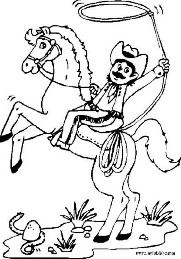 cowboy roping coloring page