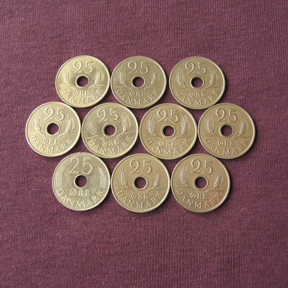 This listing is for a 10 vintage Danish 25 Øre coins from60s and 70s. All coins in a good condition and they can be a great addition to your collection, or you may use it for your handmade projects. Diameter: 23 mm (7/8 inch). More vintage coins from all over the world available here: http://etsy.me/1G8XkZn ***************************************** When and how you will get your order? ♥ All items will be shipped from Ukraine; ♥ All paid orders will be shipped within 48 hours; ♥ Shipping…