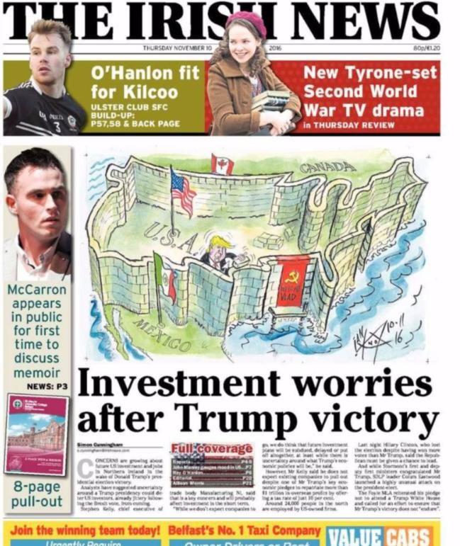 """Trump mauert sich auf dem Cover der """"Irish News"""" ein, lässt aber für Russlands Präsidenten Wladimir Putin eine Anlegestelle offen"""
