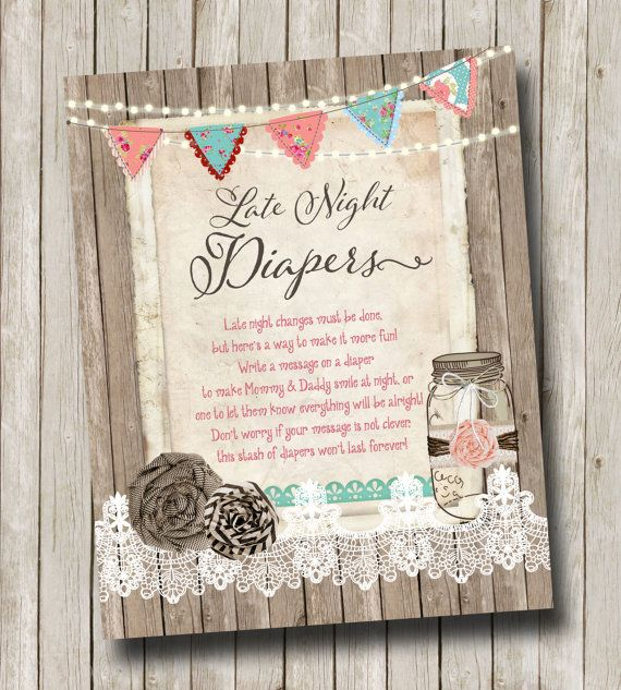 Late Night Diapers Sign Burlap Lace Late Night by mimiandmouse