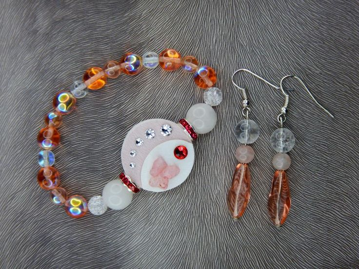 Bracelet and earrings, Swarovski, minerals, wedding, luxury#bracelet#earring#swarovski#crystal#leather fabric#pink#white#mineral#rondel#wedding