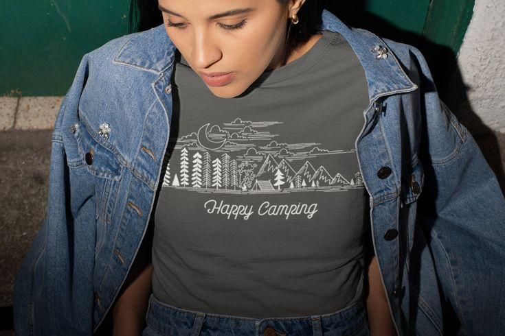 Women's Happy Camping T-Shirt Camping Shirts Wanderlust Shirt Wanderlust Clothing Line Art Illustration – Shirts for camper