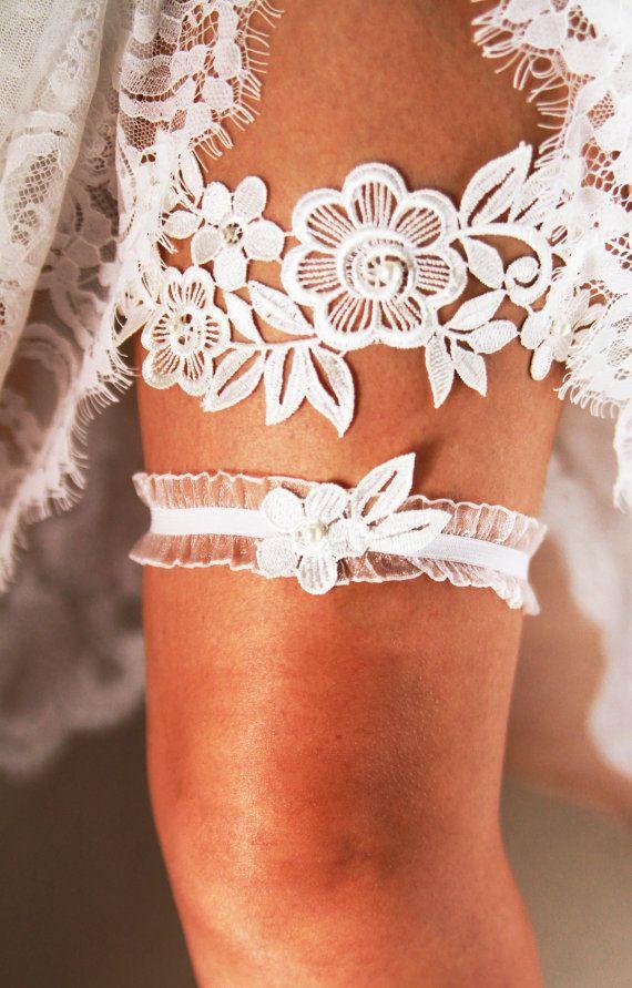 Bridal Garter Wedding Garter Set  Keepsake Garter by NAFEstudio