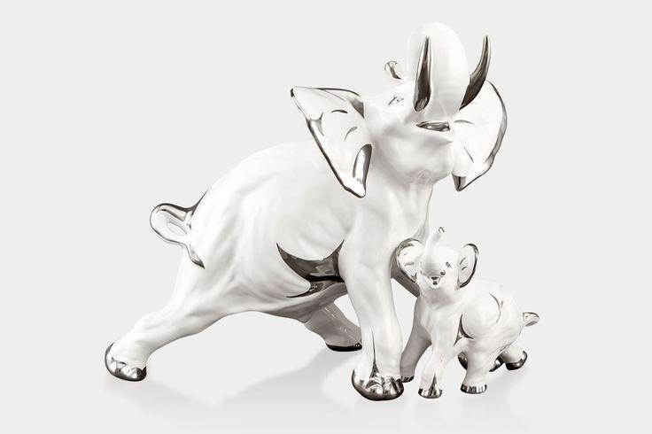 Керамические животные - слон со слонёнком R1376 / 1F / ООП - 43 x 22 x 37 см
