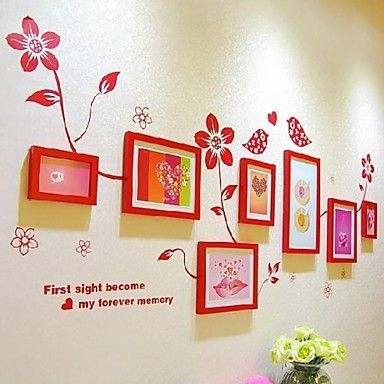Red Photo Frame Collection Set of 7 with Flower Wall Sticker – AUD $ 96.30