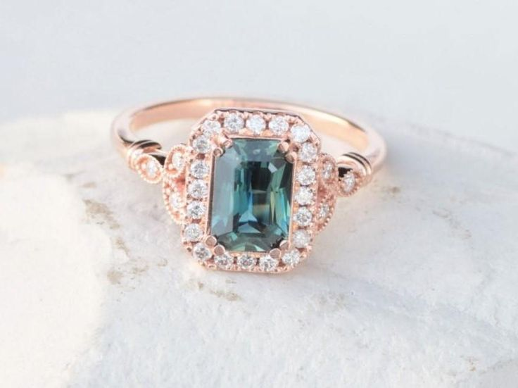 Blue Green Sapphire Vintage Inspired Engagement Ring with 2.05ct Radiant Cut Sapphire #Art_deco_engagement #Bespoke_engagement #Blue_green_sapphire