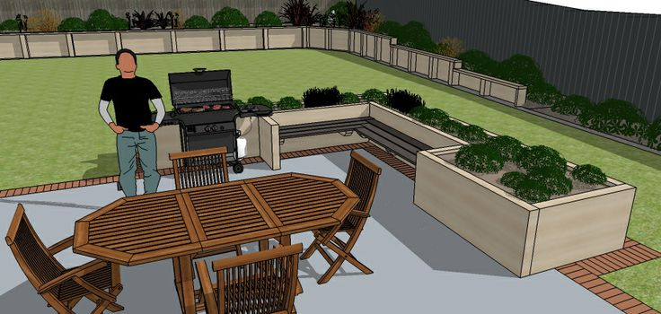 Kiwi BBQ, patio furniture on floated concrete, raised herb garden.