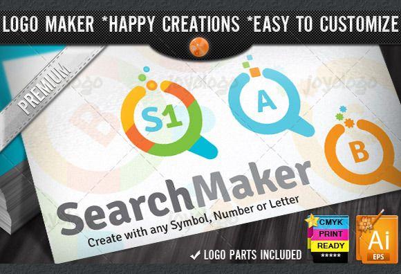 Check out Flat Colorful Search Logo Maker Set by joyologo on Creative Market