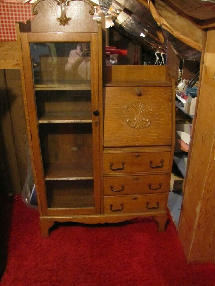 Antique Oak Side by Side Secretary W/Drop Front Desk ...