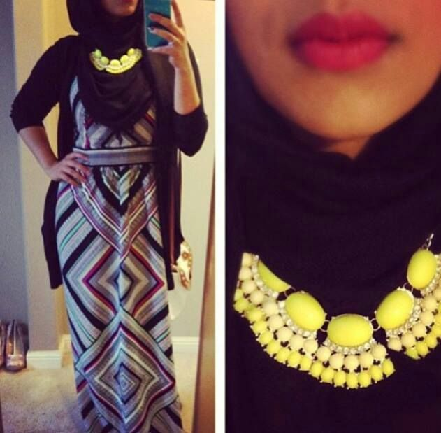 necklace over hijab but chest is still covered
