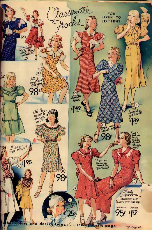 Spring 1934 Sears & Roebuck catalog - fashions for girls 7 to 16
