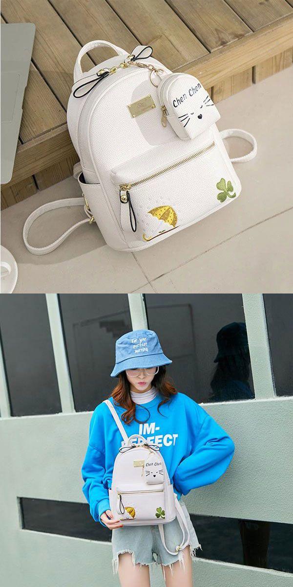 55555439e295 Leisure Clover Umbrella Cartoon Soft PU Student Mini Embroidery ...