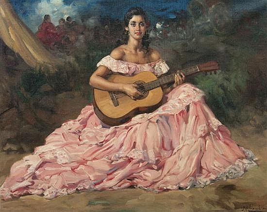Spanish Flamenco Woman With Guitar By Francisco Rodriguez Sanchez Clement