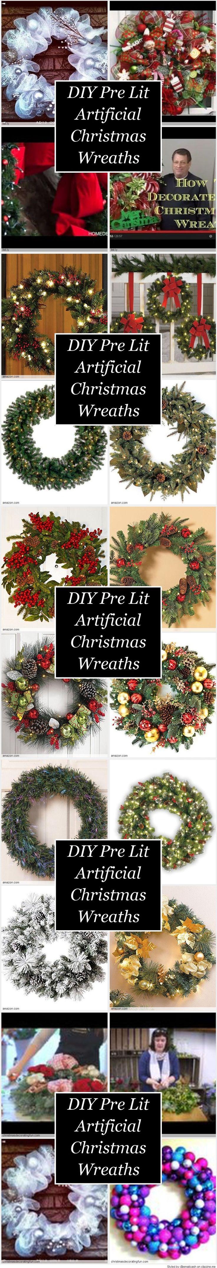 DIY Pre Lit Artificial Christmas Wreaths Ideas