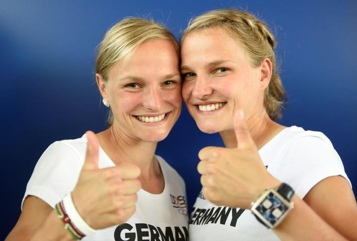 Athletics: Go sisters! Twins and triplets to run in Rio marathon  -  August 12, 2016  -     Twins Anna and Lisa Hahner of the German Olympic marathon team pose for media during the kit collection of Germany's Olympic team in Hanover