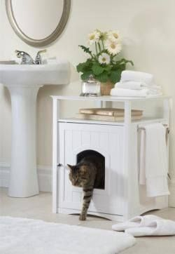 Cat Washroom Litter Box Cover/Night Stand Pet House in White Don't let sleeping cats lie - give your feisty feline the designer litter box she deserves. Enjoy the reactions of family members and loved