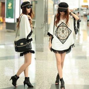 Femmes coréennes bordées de Hem Tops Loose manches courtes T-shirt de longue Blouse de BatShirt