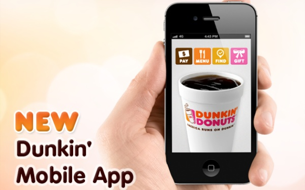 Dunkin' Donuts app allows you to send money to friends to buy Dunkin' stuff via text, email or FB
