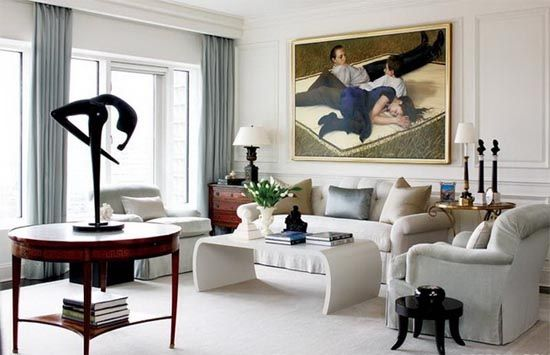 Modern apartment interior with american neoclassical style for Modern american classics