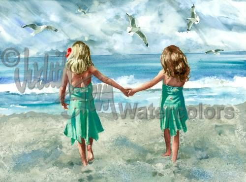 Rompin Room! is an Open Edition Giclee Art Print from a watercolor featuring two young girls and friends walking hand in hand toward the beach.