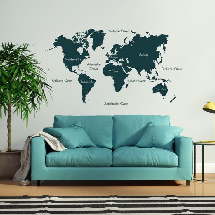 Best Wandtattoo Weltkarte beschriftet