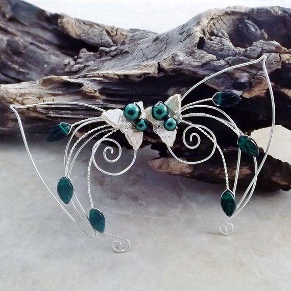 Emerald Elf Ear Cuff Wraps Pair or Single Bridal by Thyme2dream