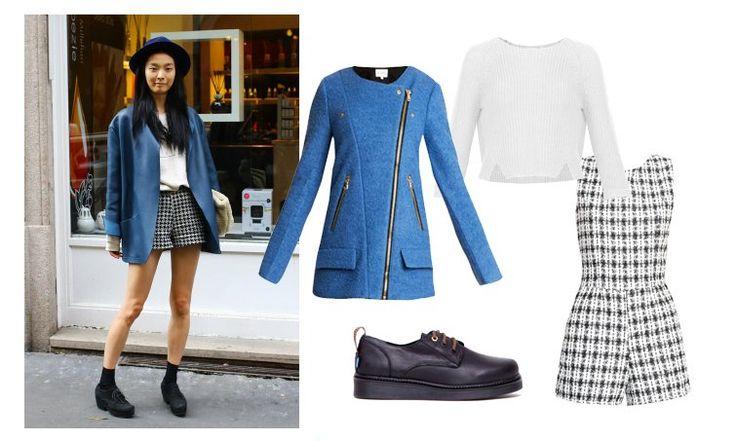 London college style. Chaqueta azul de Sinty, mono de Jiro jersey crop de @veromodafashion y zapatos de suela gorda de @mtngmustang.