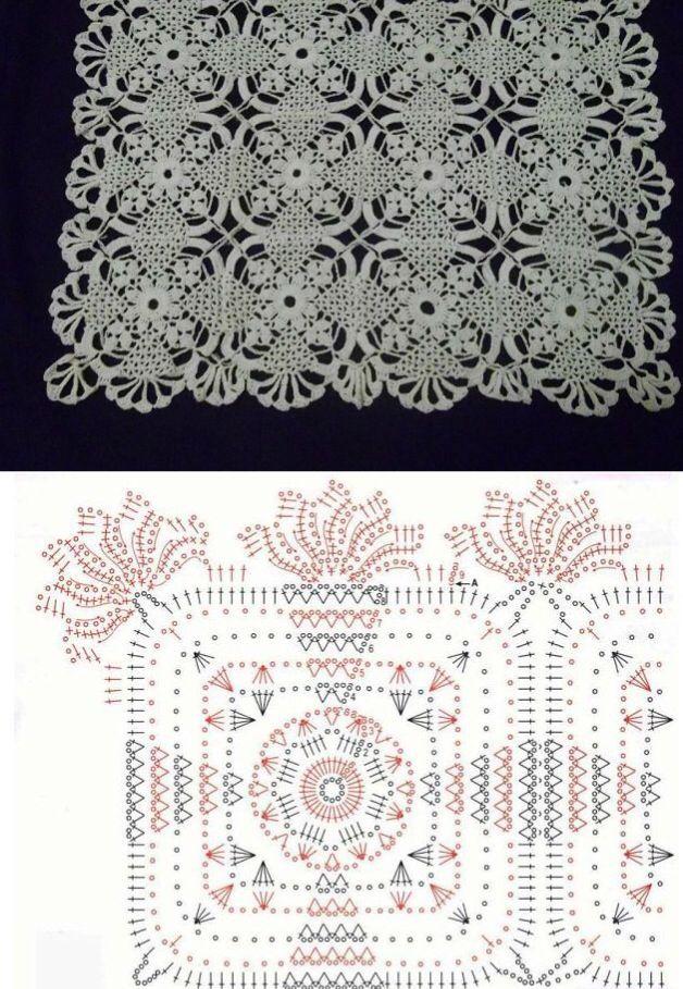 Crochet doily with diagram