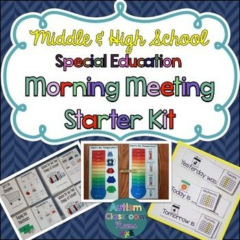 Special Education Middle & High School Morning Meeting Starter KitThis kit for secondary morning meetings is designed for classrooms serving students with significant disabilities.  It provides the structure you need for running group activities with opportunities for communication, choice making, calendar skills, counting, identifying names and/or pictures, and meaningful participation.