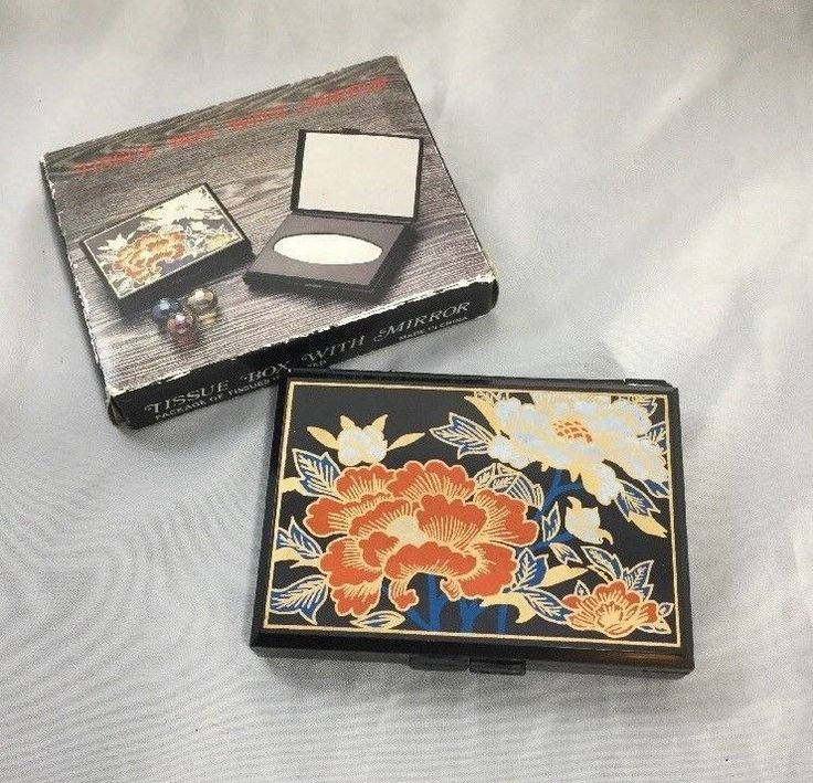 Vintage Black Lacquer Asian Style Compact Personal Tissue Box Holder Mirror NEW