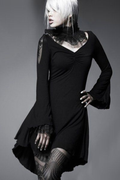 Black Butterfly Top Dress by Punk Rave | Ladies Gothic