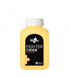 FIGHTER CIDER®    This remedy pulls no punches. Apple cider vinegar eases cold and flu symptoms. Ginger and turmeric team up to reduce inflammation. Plus a twist of grapefruit to sweeten the deal.  INGREDIENTS INCLUDE    3X Ginger  Apple Cider Vinegar  Garlic  Grapefruit  Habanero Pepper  Horseradish  Lemon  Orange  Turmeric
