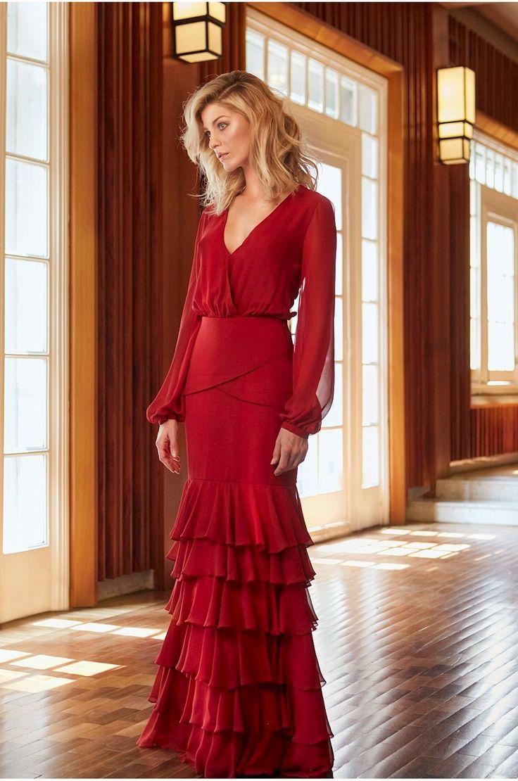Vestido Longo Vermelho Babado » Vestidos