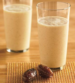 Vanilla-Date Breakfast Smoothie....  1 cup nonfat yogurt      1 cup nonfat milk      1 cup (packed) pitted Medjool dates (about 9 ounces)      1/2 teaspoon vanilla extract      2 cups ice cubes    Preparation        Puree yogurt, milk, dates, and vanilla in blender until smooth. Add ice cubes; puree until mixture is thick and smooth. Divide between 2 glasses and serve.