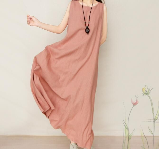 Women's Fashion Pink White Black Red Floral Long Line Causal Summer Beach Dress