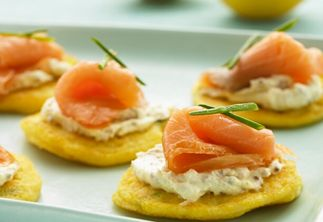 Polenta Pancakes with Smoked Salmon & Philly